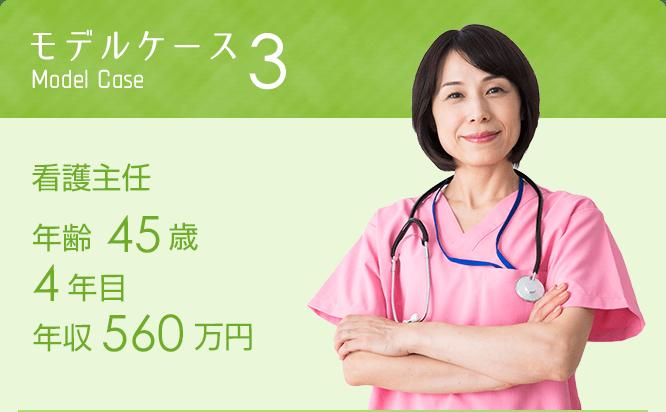 モデルケース3 看護主任年齢45歳 4年目 年収560万円