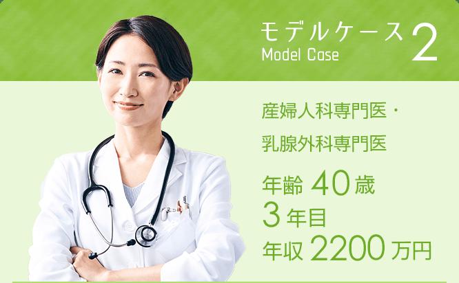 モデルケース2 産婦人科専門医・乳腺外科専門医年齢40歳 3年目 年収2200万円※週5日35時間勤務の場合
